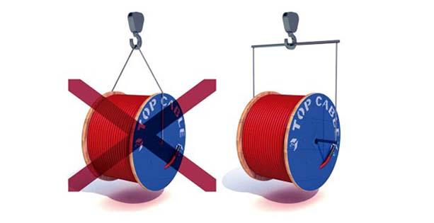 Manipulación bobina con grua