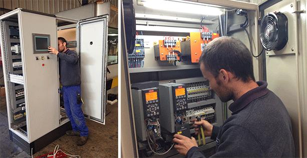Elementos de cableado en un armario el ctrico cables y for Cuadro electrico componentes