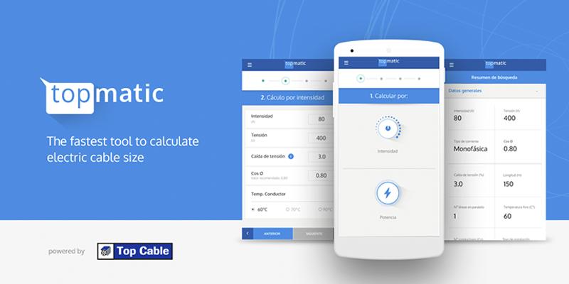 """TOPMATIC l'""""app"""" millorada per a calcular la secció de cable elèctric"""